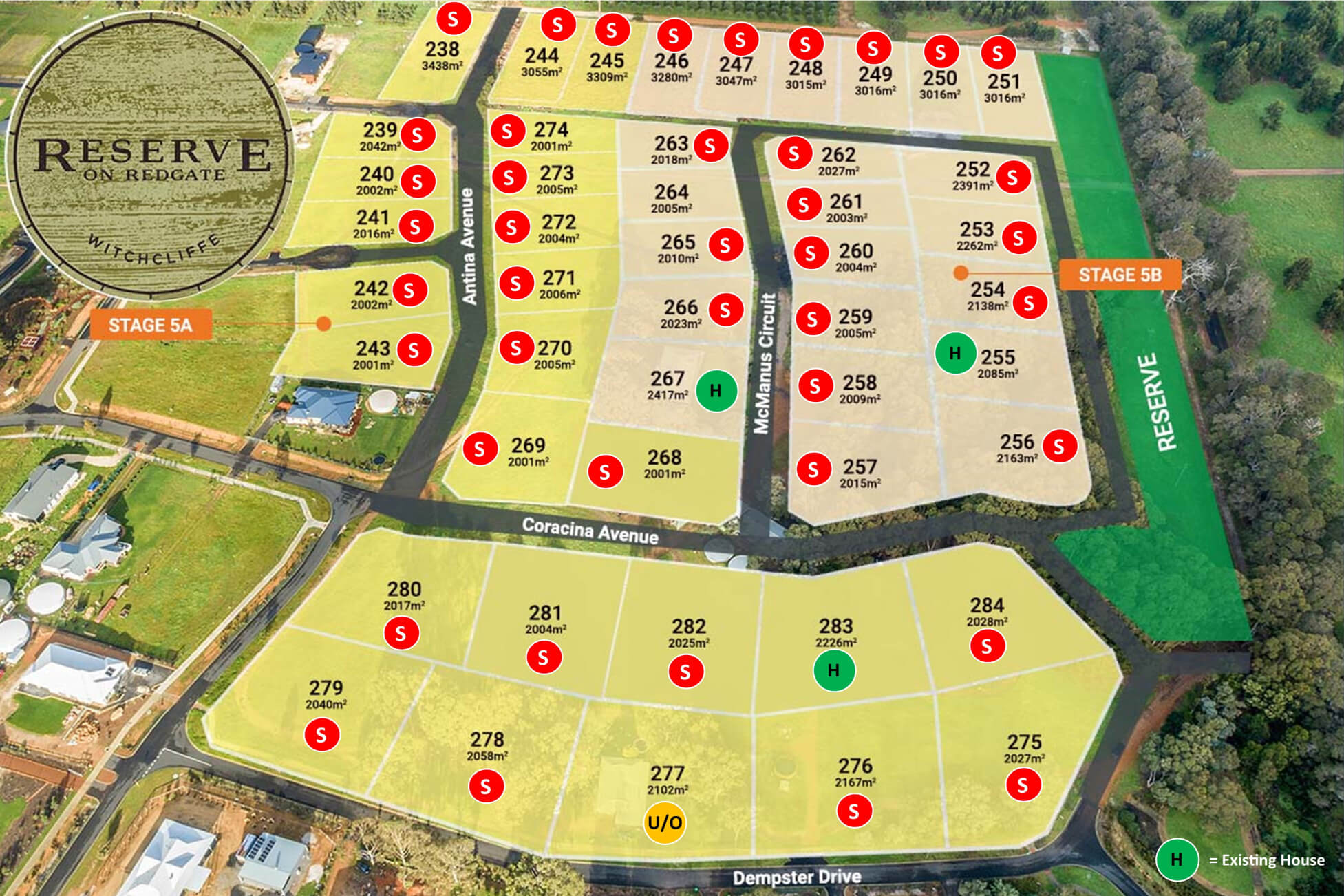 Reserve on Redgate Release Stage 5A &5B Aerial
